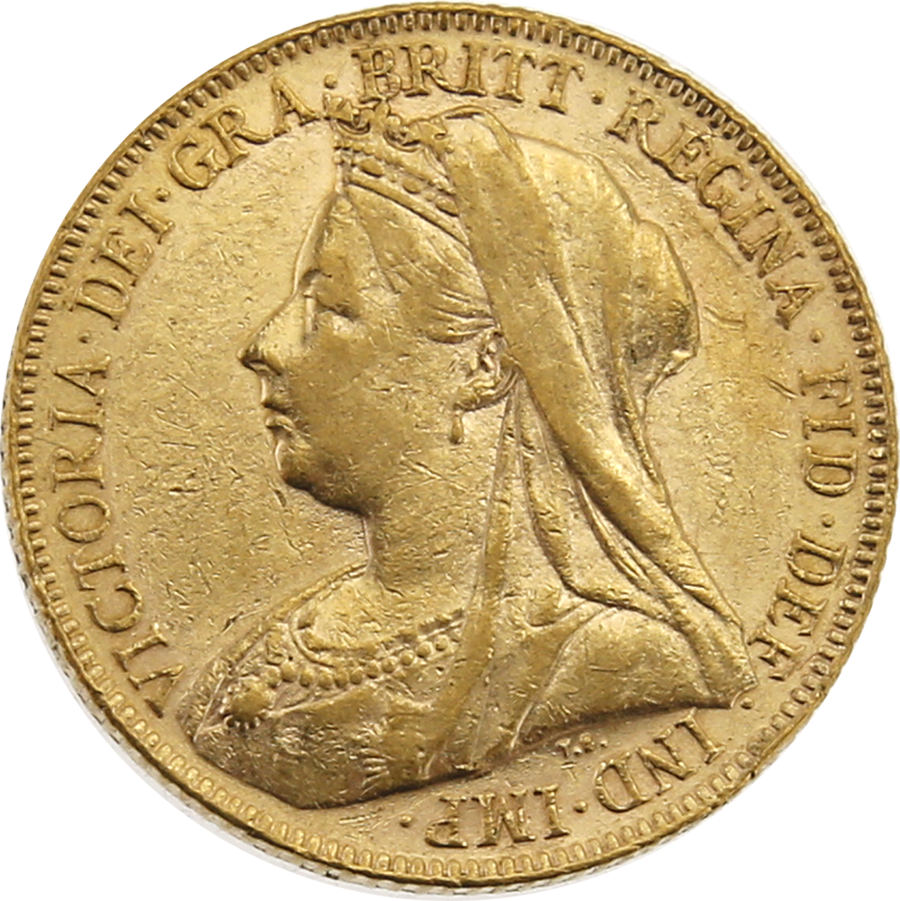 Pre-Owned 1899 London Mint Victoria 'Veiled Head' Full Sovereign Gold Coin