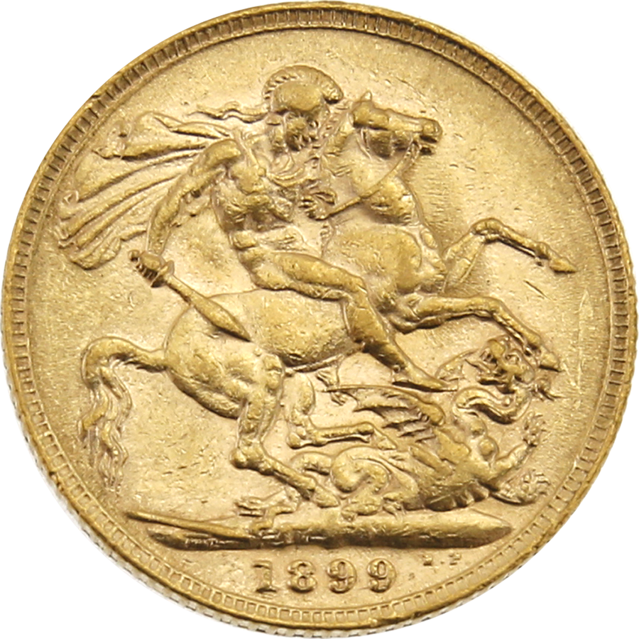 Pre-Owned 1899 London Mint Victoria 'Veiled Head' Full Sovereign Gold Coin (Image 2)