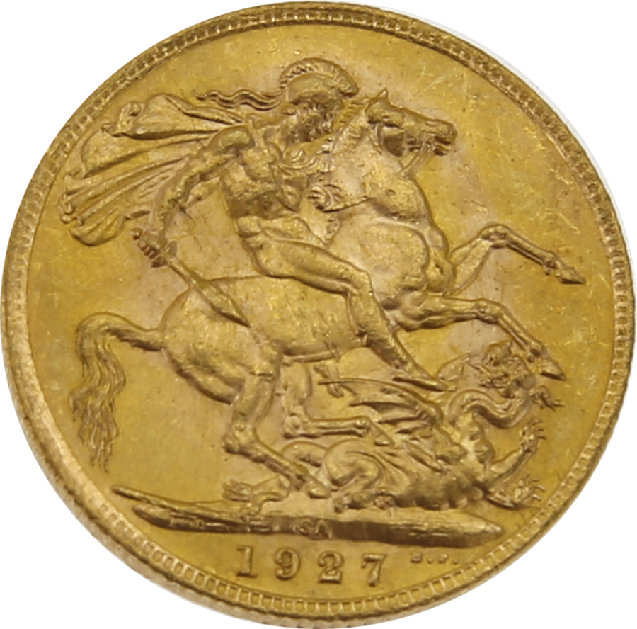 Pre-Owned 1927 South Africa Mint George V Full Sovereign Gold Coin