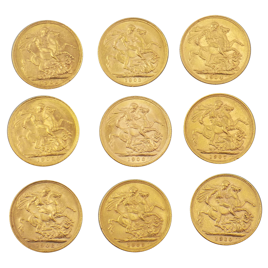Pre-Owned 1902-1910 Edward VII Full Sovereign Gold Coin Set