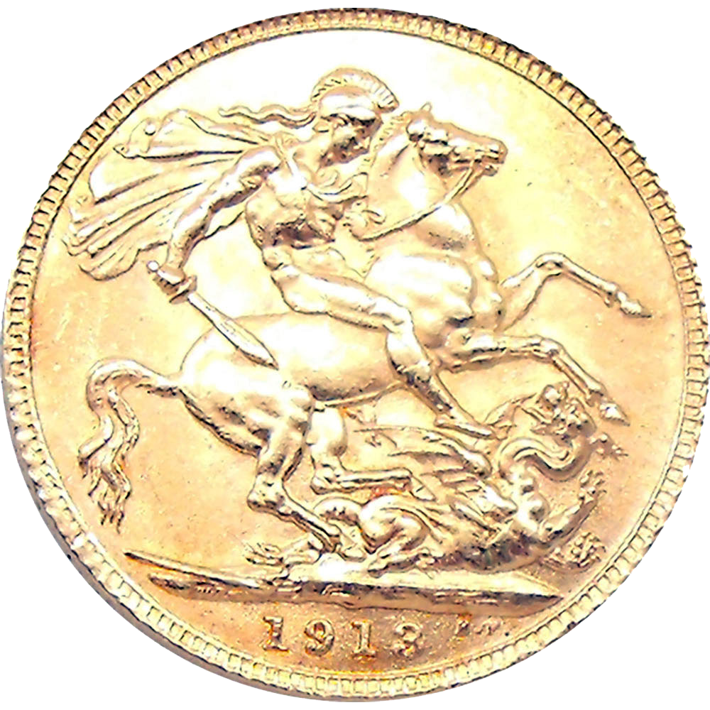 Pre-Owned 1913 Perth Mint George V Full Sovereign Gold Coin (Image 2)
