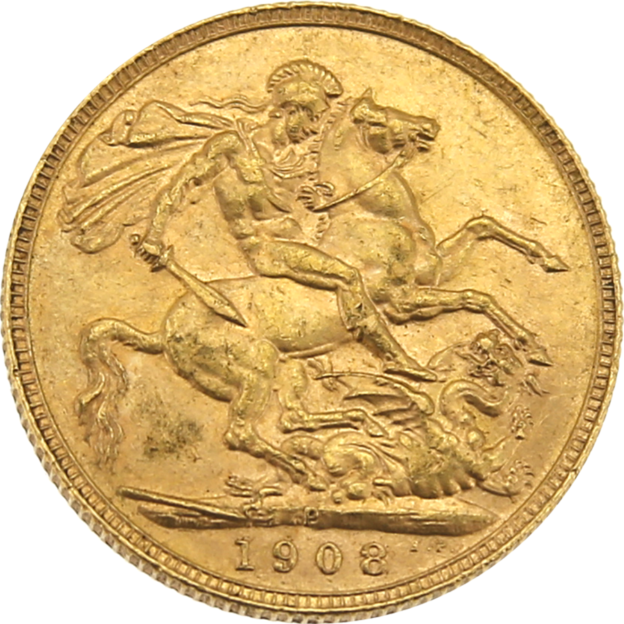 Pre-Owned 1908 Perth Mint Edward VII Full Sovereign Gold Coin (Image 2)