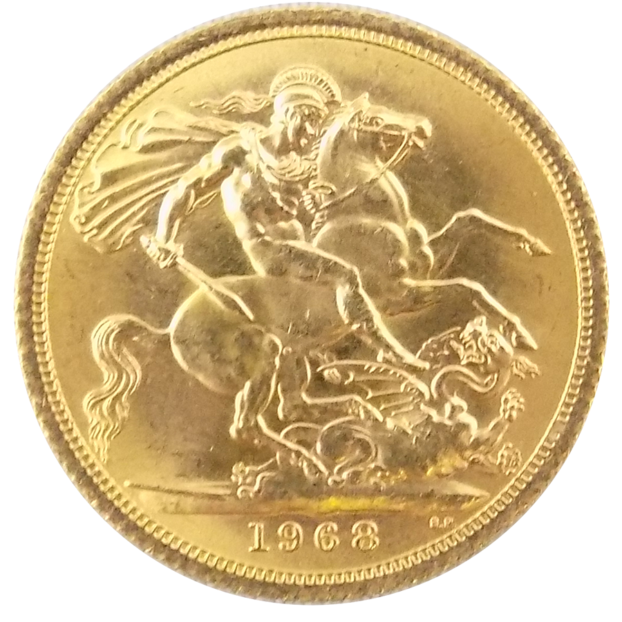 Pre-Owned 1968 UK Full Sovereign Gold Coin (Image 2)