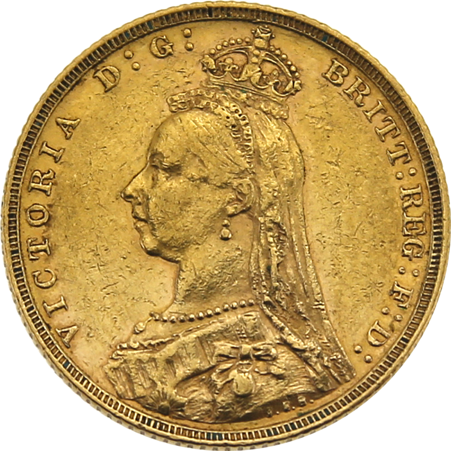 Pre-Owned 1891 Melbourne Mint 'Jubilee Head' Full Sovereign Gold Coin