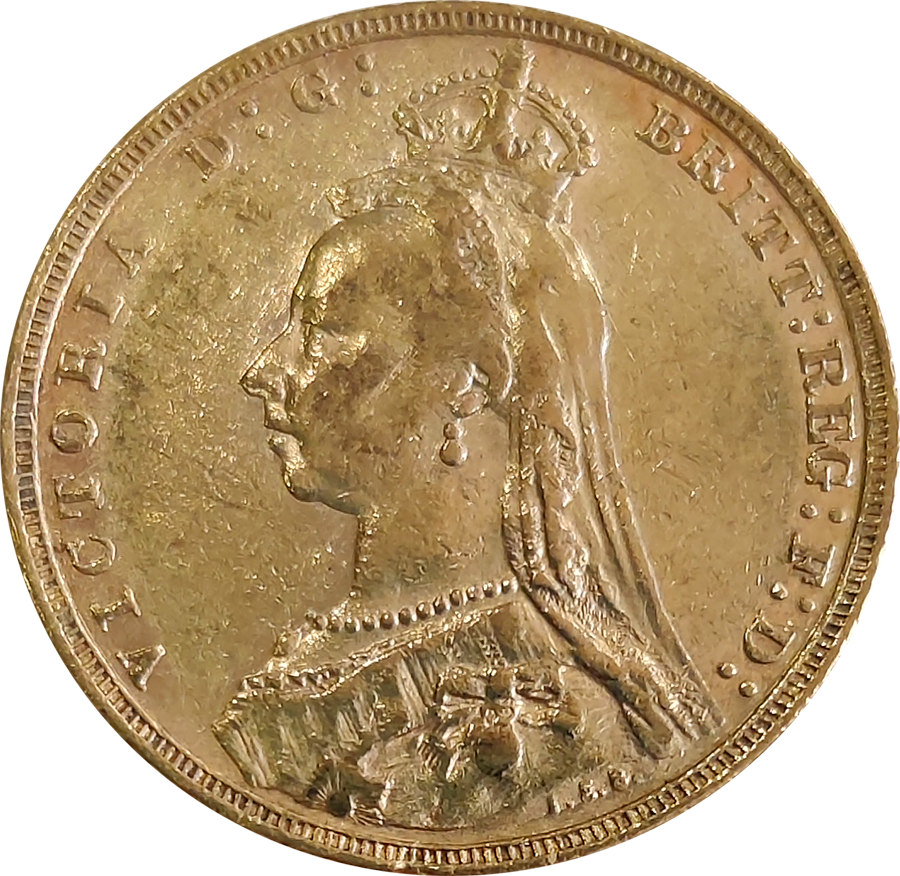 Pre-Owned 1893 Melbourne Mint Victoria 'Jubilee Head' Full Sovereign Gold Coin