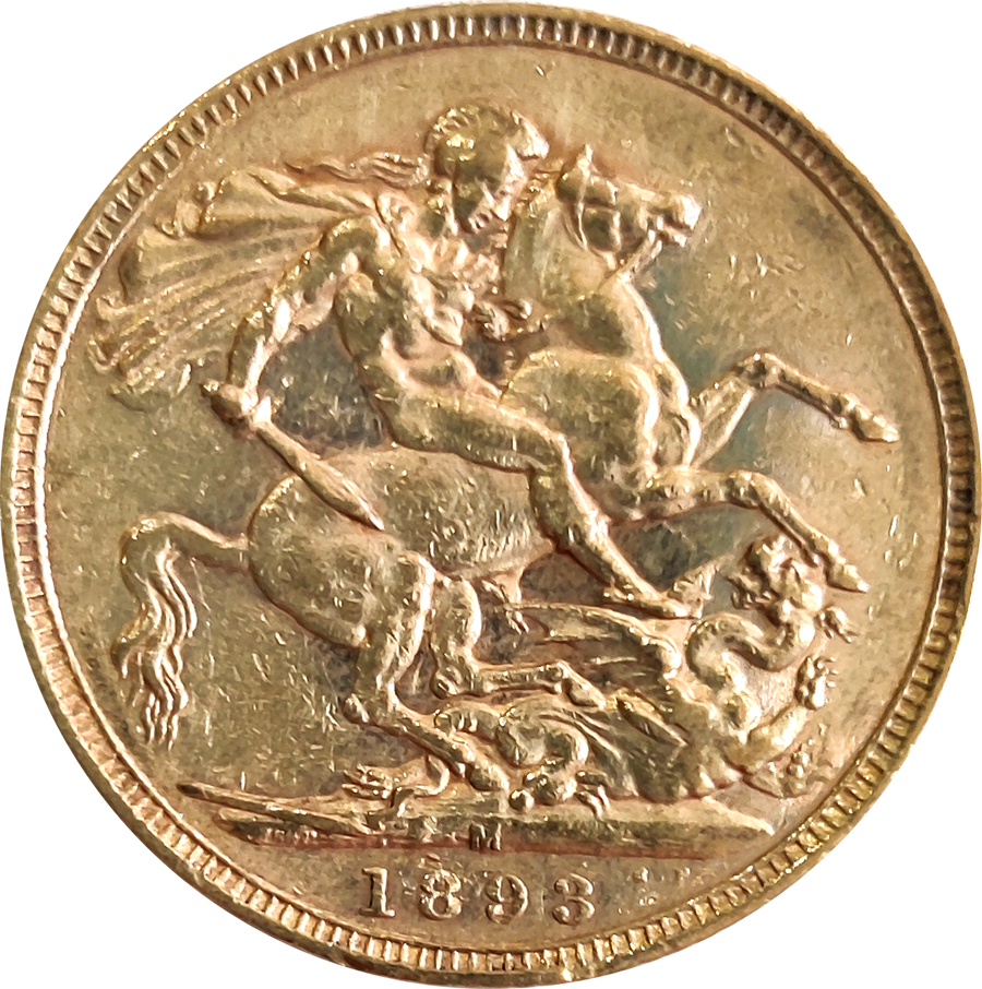 Pre-Owned 1893 Melbourne Mint Victoria 'Jubilee Head' Full Sovereign Gold Coin (Image 2)