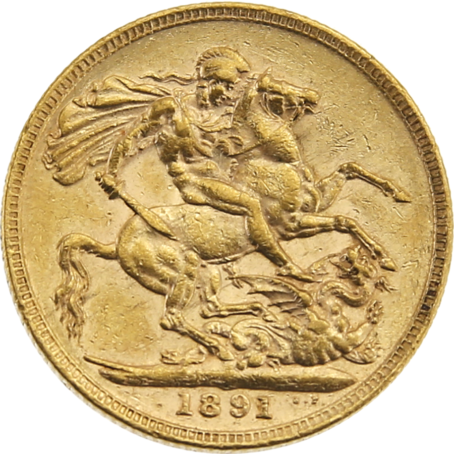 Pre-Owned 1891 London Mint Victoria Jubilee Head Full Sovereign Gold Coin (Image 2)