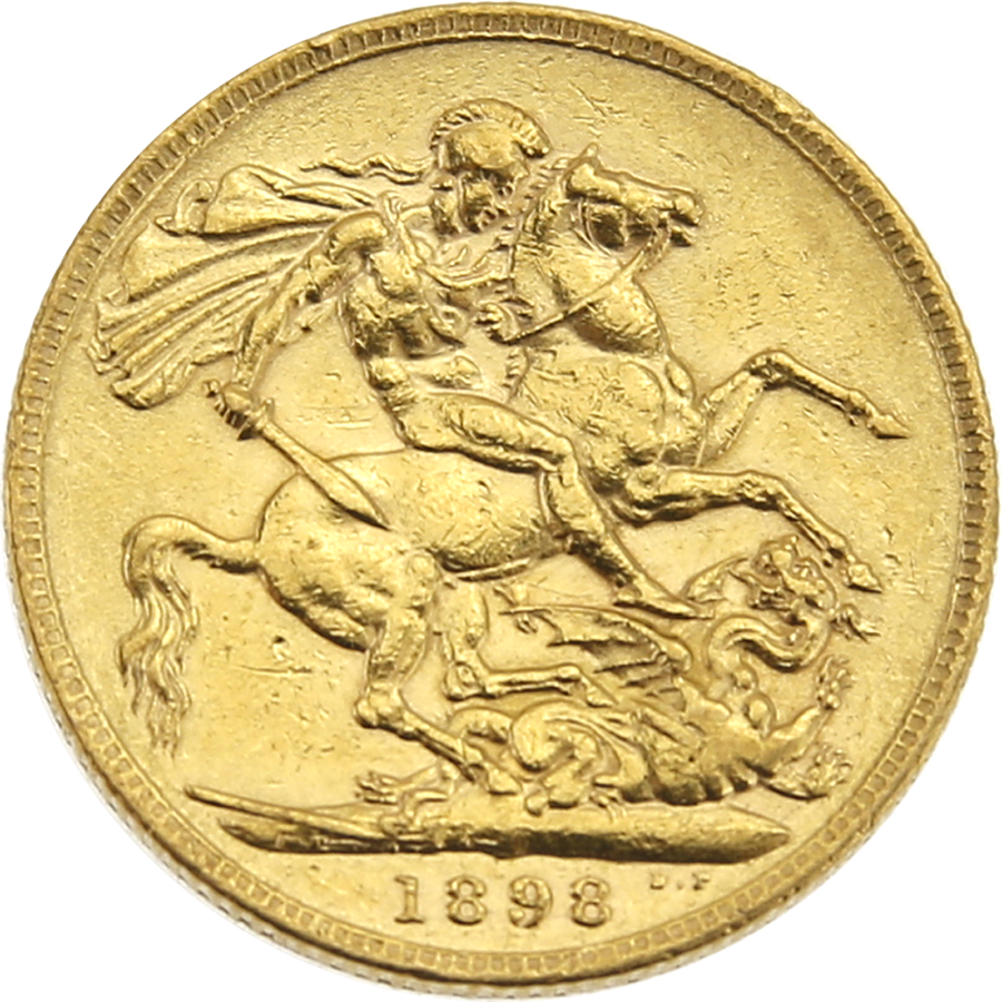 Pre-Owned 1898 London Mint Victoria Veiled Head Full Sovereign Gold Coin (Image 2)