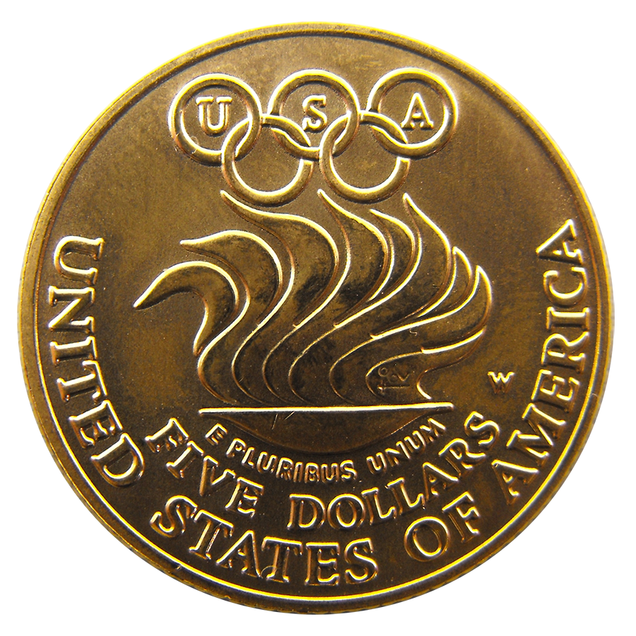 Pre-Owned 1988 USA Olympic $5 Gold Coin