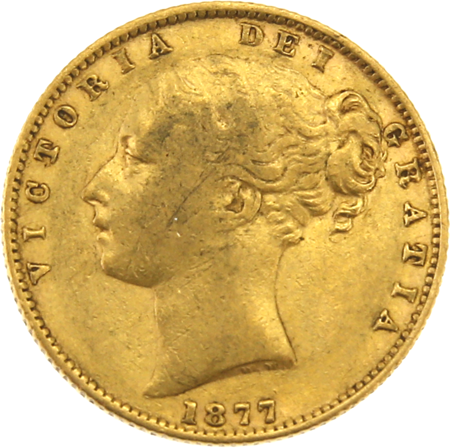 """Pre-Owned 1877 Sydney Mint Victorian """"Shield"""" Full Sovereign Gold Coin"""