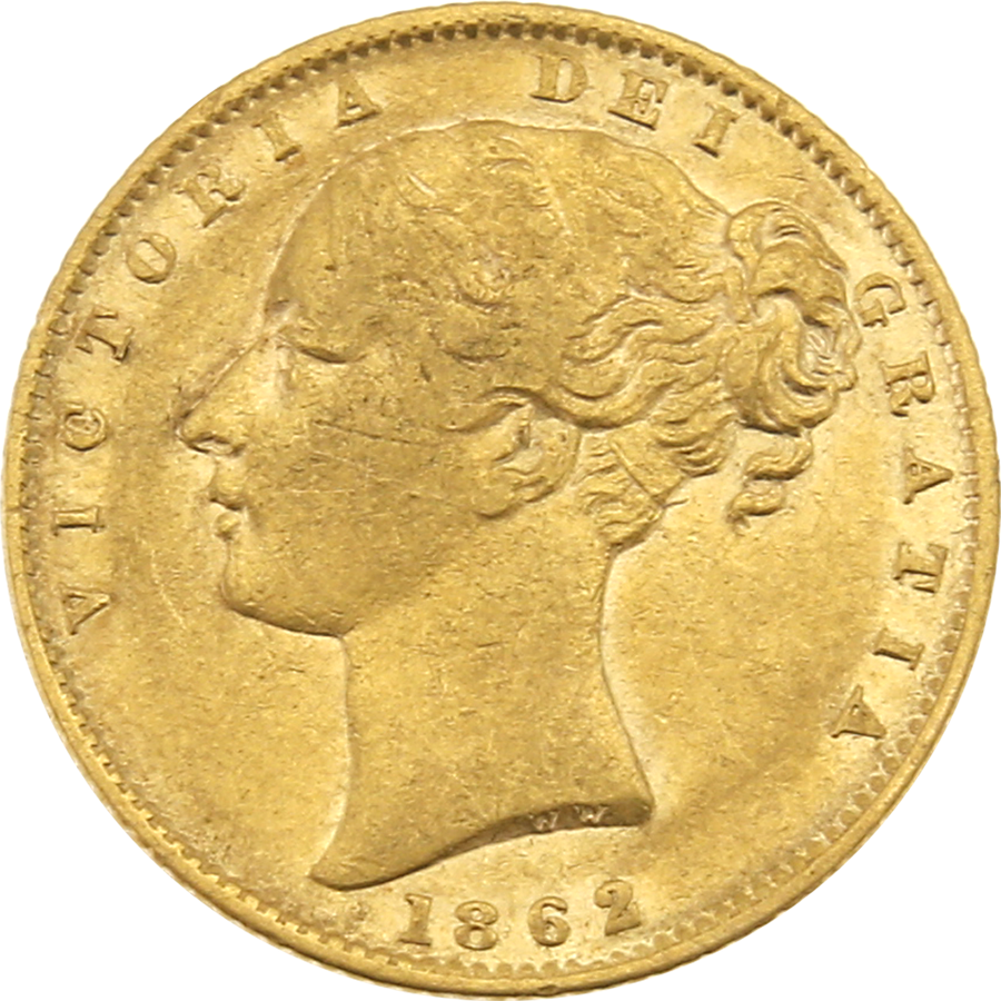 Pre-Owned 1862 London Mint Victorian 'Shield' Full Sovereign Gold Coin (Image 1)