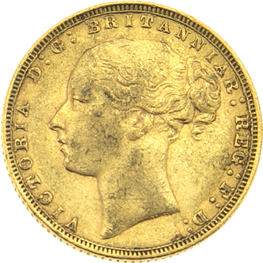 Pre-Owned 1872 London Mint Victoria Young Head Full Sovereign Gold Coin (Image 1)