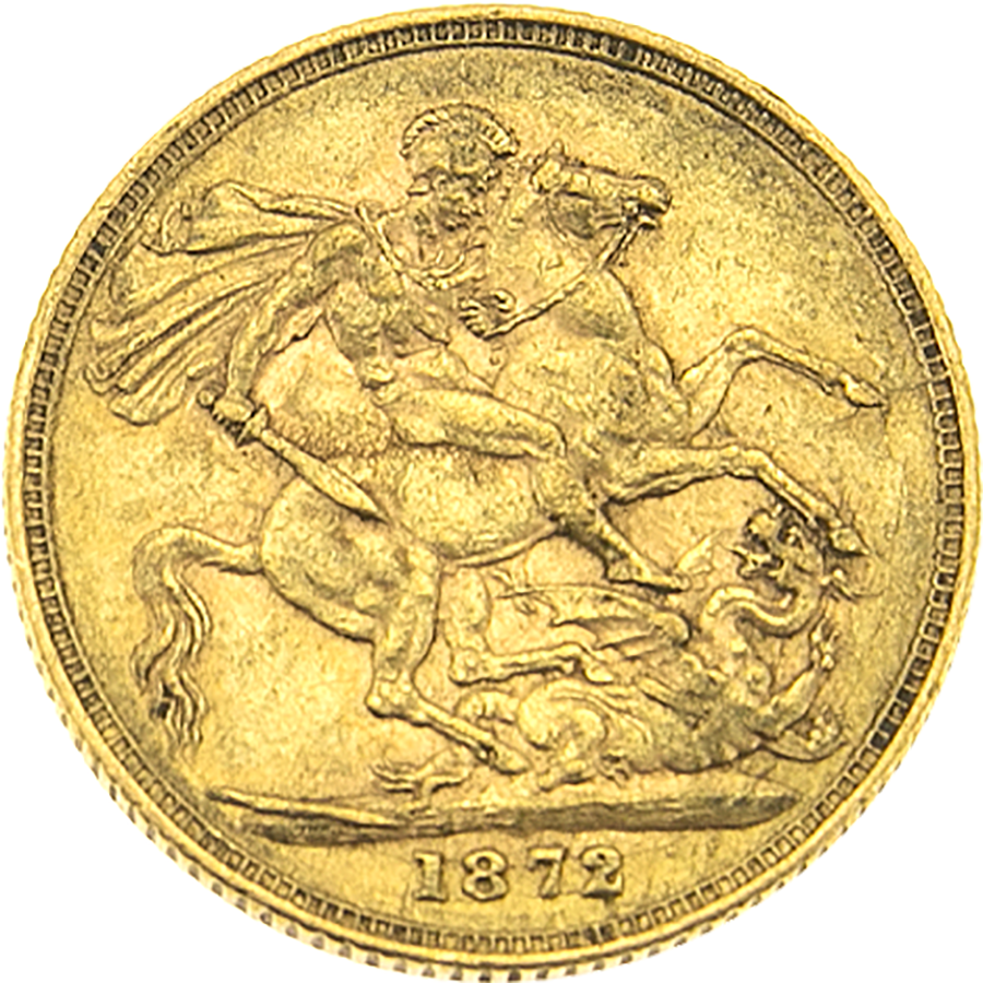 Pre-Owned 1872 London Mint Victoria Young Head Full Sovereign Gold Coin (Image 2)