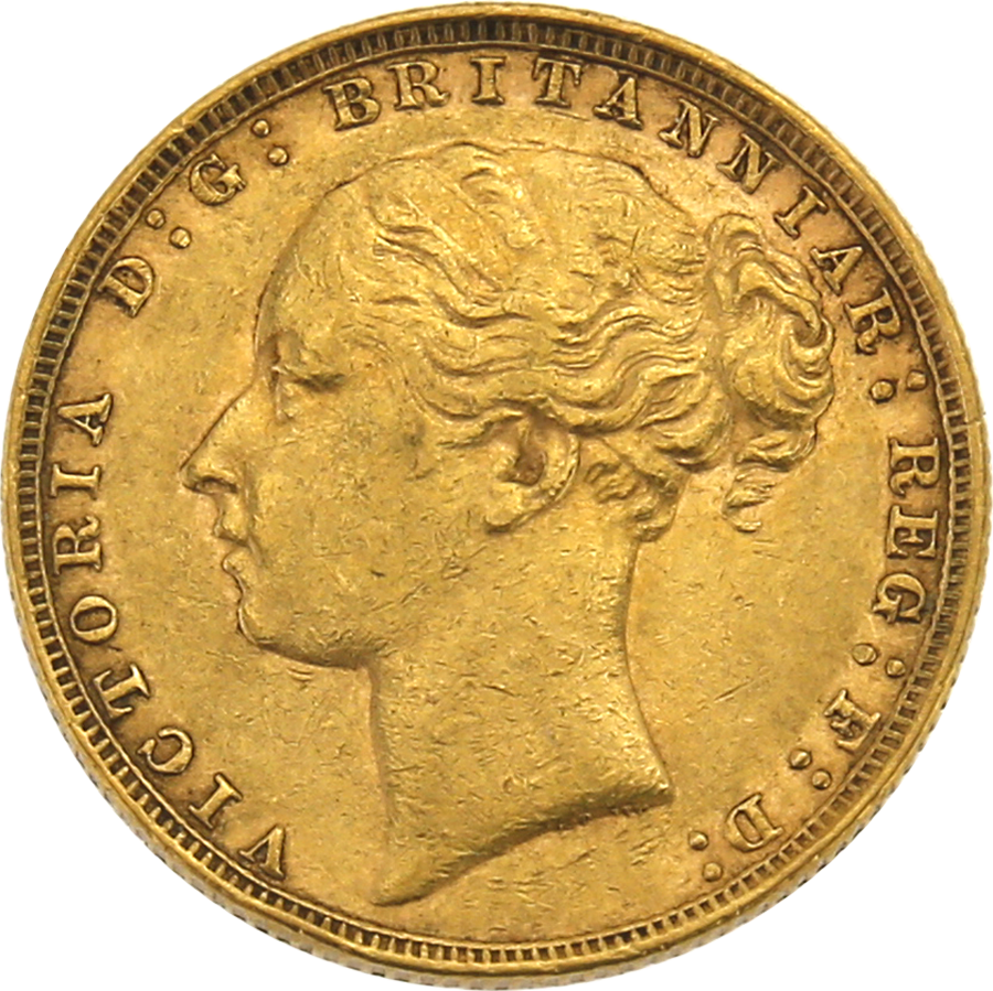 Pre-Owned 1884 London Mint Victoria Young Head Full Sovereign Gold Coin