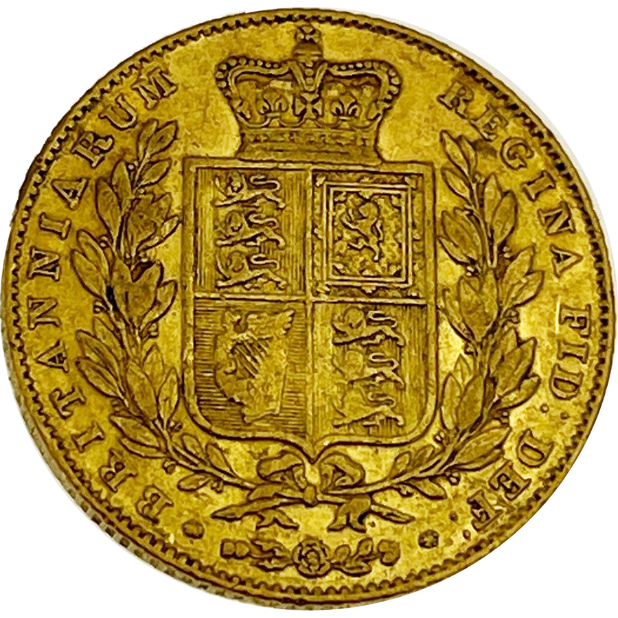 """Pre-Owned 1844 London Mint Victorian """"Shield"""" Full Sovereign Gold Coin"""