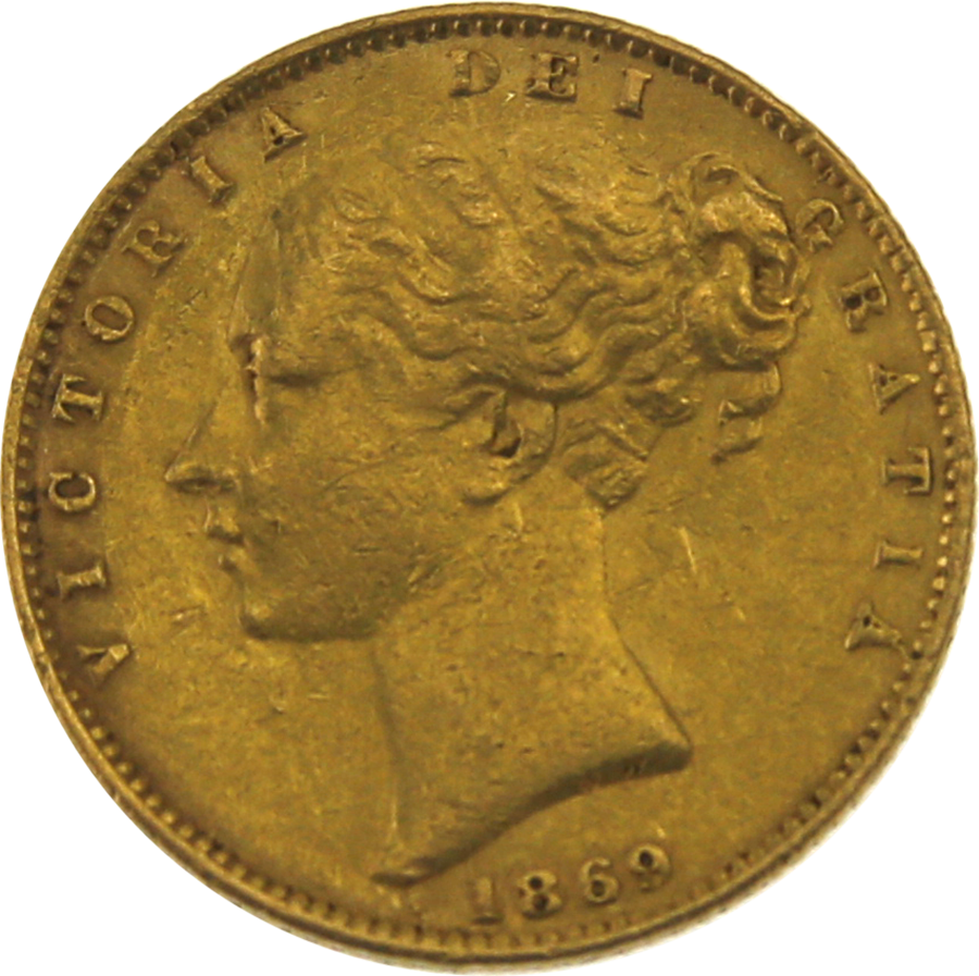 """Pre-Owned 1869 London Mint Victorian """"Shield"""" Full Sovereign Gold Coin"""