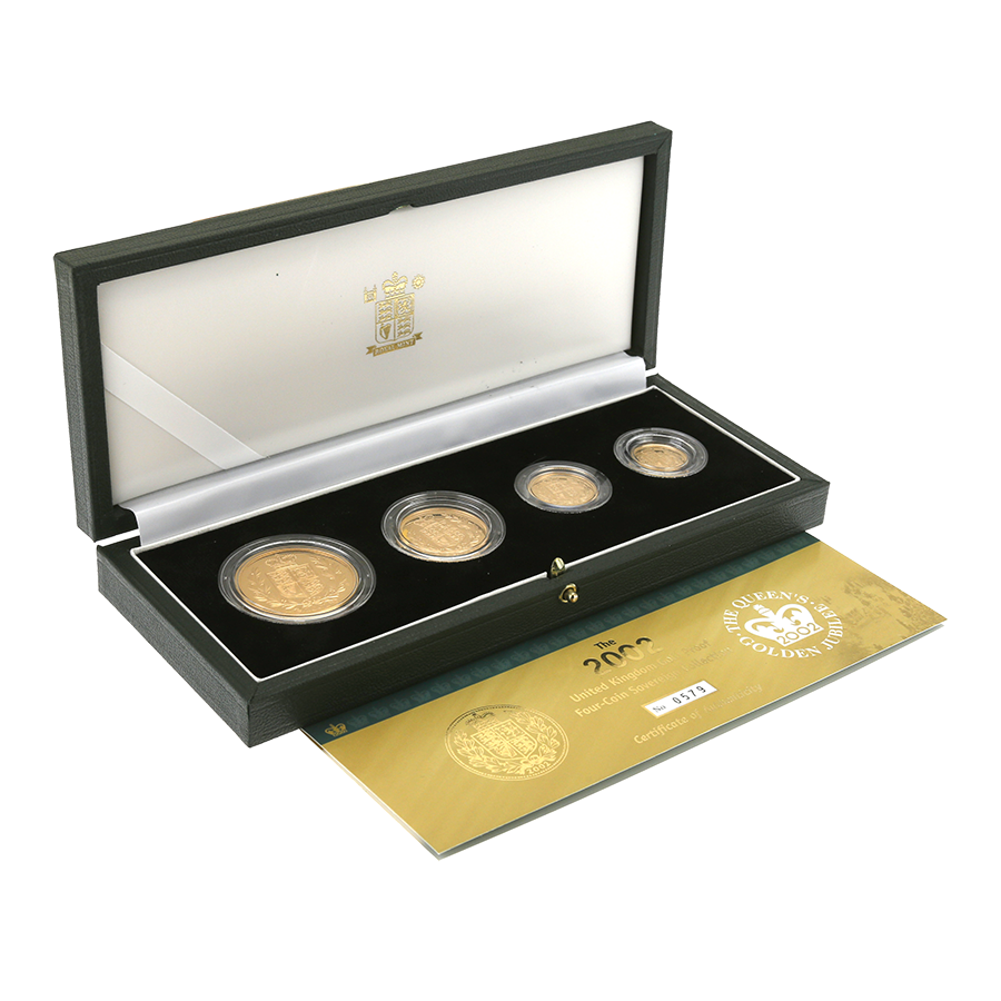 Pre-Owned 2002 UK Sovereign Gold Proof 4 Coin Set