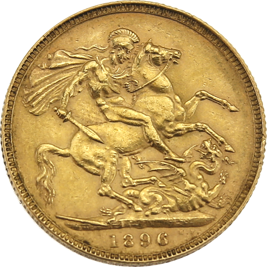 Pre-Owned 1896 London Victoria 'Veiled Head' Full Sovereign Gold Coin (Image 2)