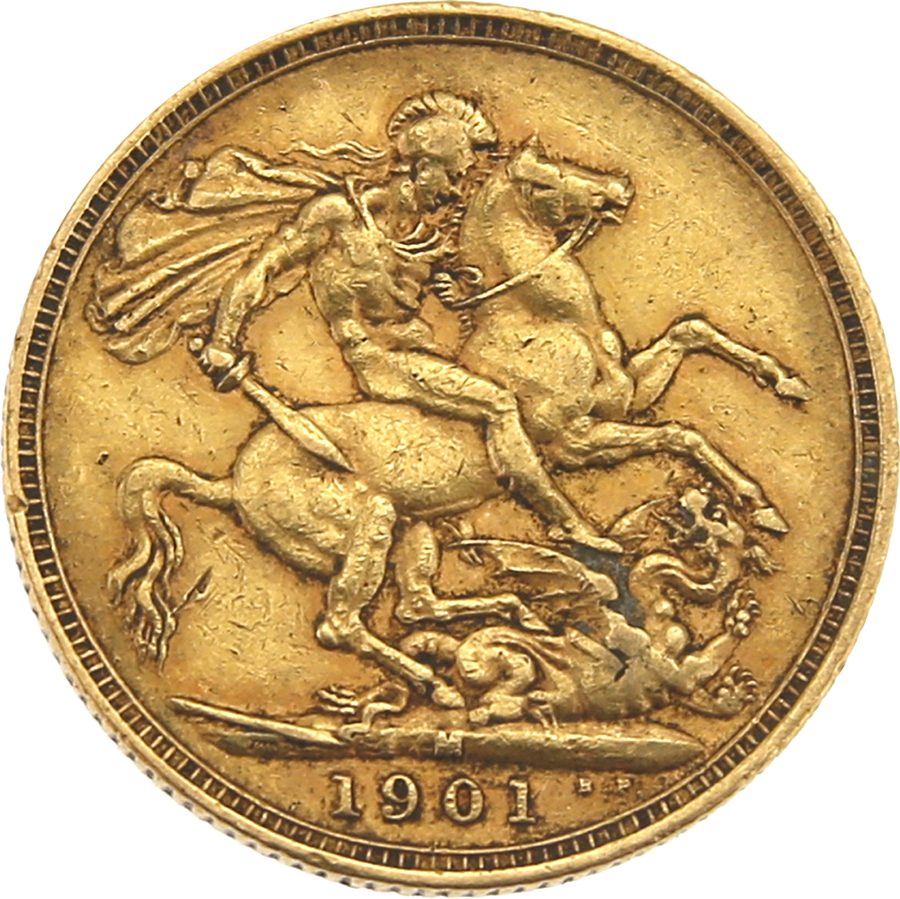 Pre-Owned 1901 Melbourne Mint Victoria 'Veiled Head' Full Sovereign Gold Coin (Image 2)