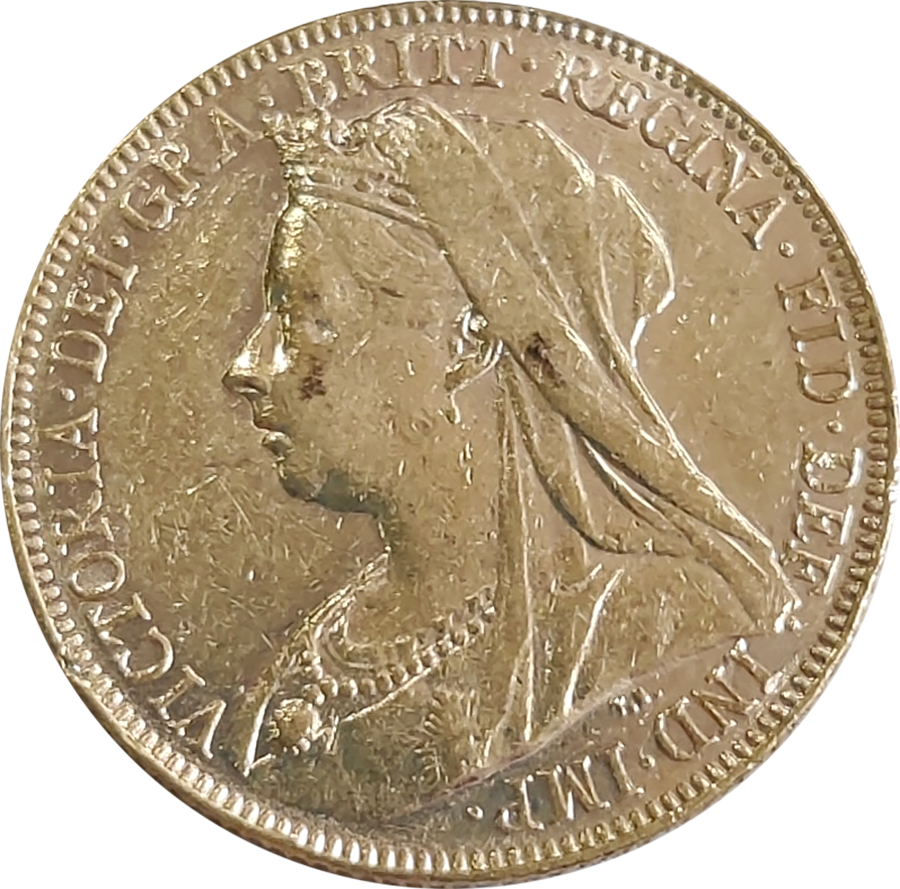 Pre-Owned 1901 Perth Mint Victoria 'Veiled Head' Full Sovereign Gold Coin