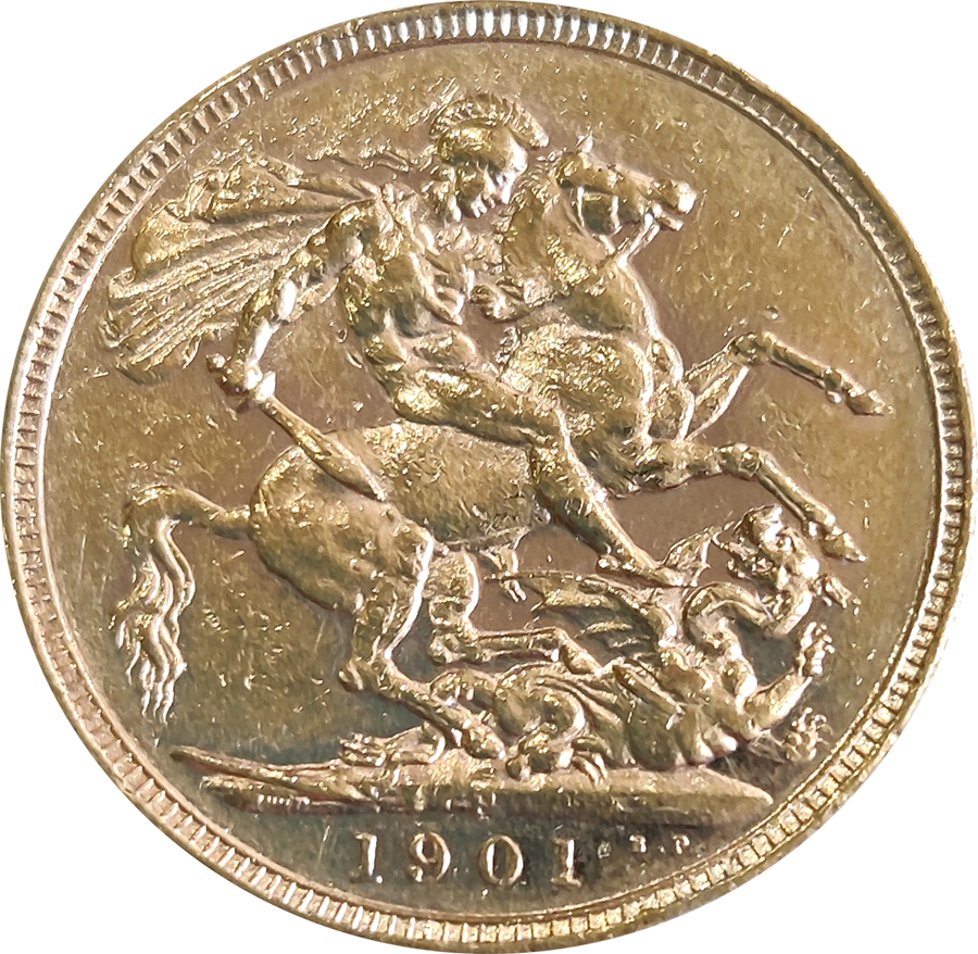 Pre-Owned 1901 Perth Mint Victoria 'Veiled Head' Full Sovereign Gold Coin (Image 2)