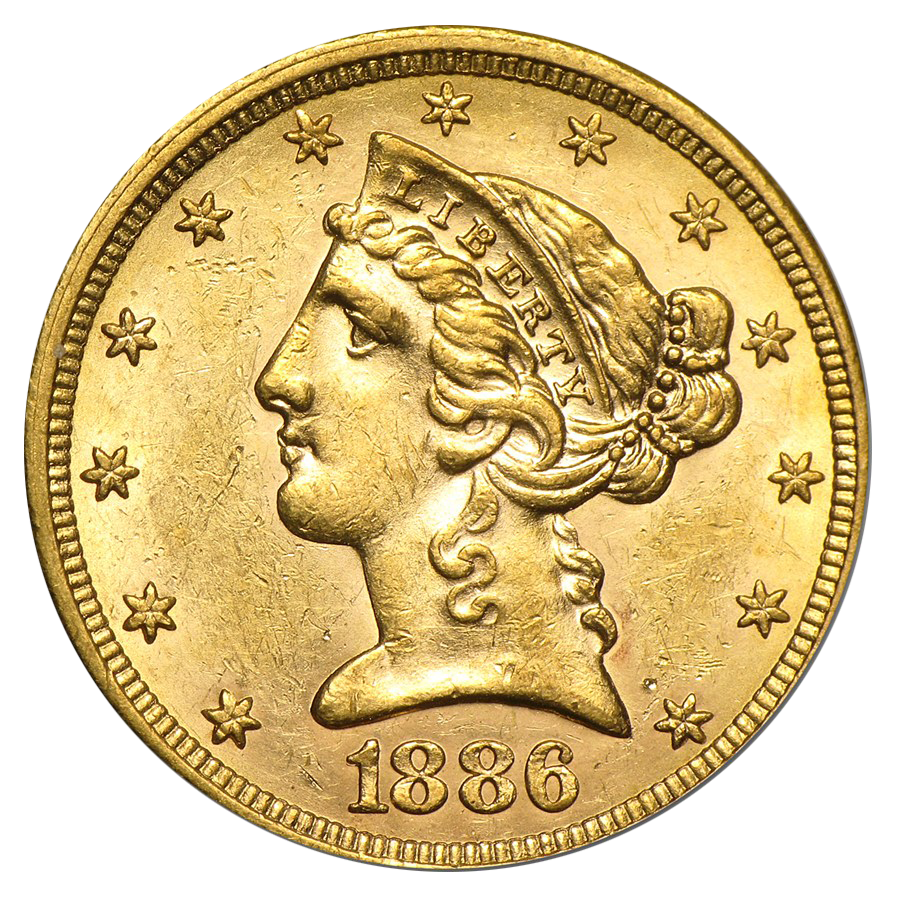 Pre Owned Usa Half Eagle 5 Gold Coin