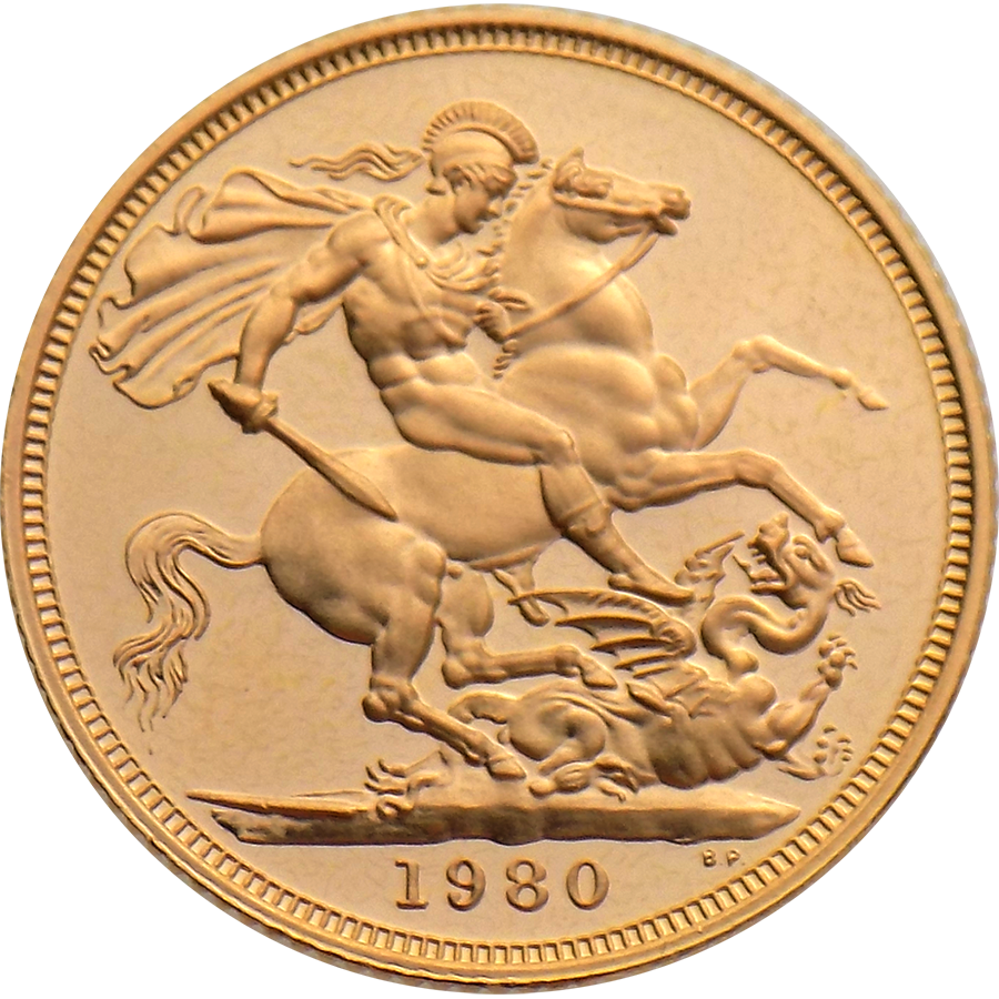 Pre-Owned 1980 UK Full Sovereign Proof Design Gold Coin (Image 2)