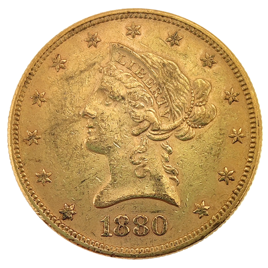 Pre Owned 1880 Usa Liberty Eagle 10 Gold Coin