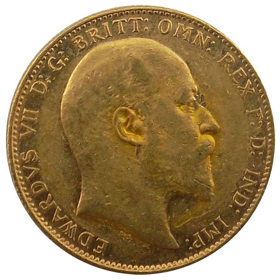 Pre-Owned 1909 Sydney Mint Edward VII Full Sovereign Gold Coin