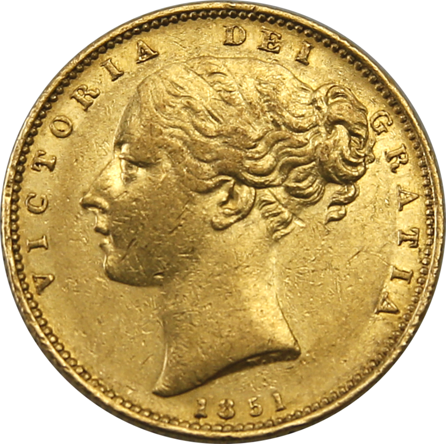 Pre-Owned 1851 London Mint Victorian 'Shield' Full Sovereign Gold Coin