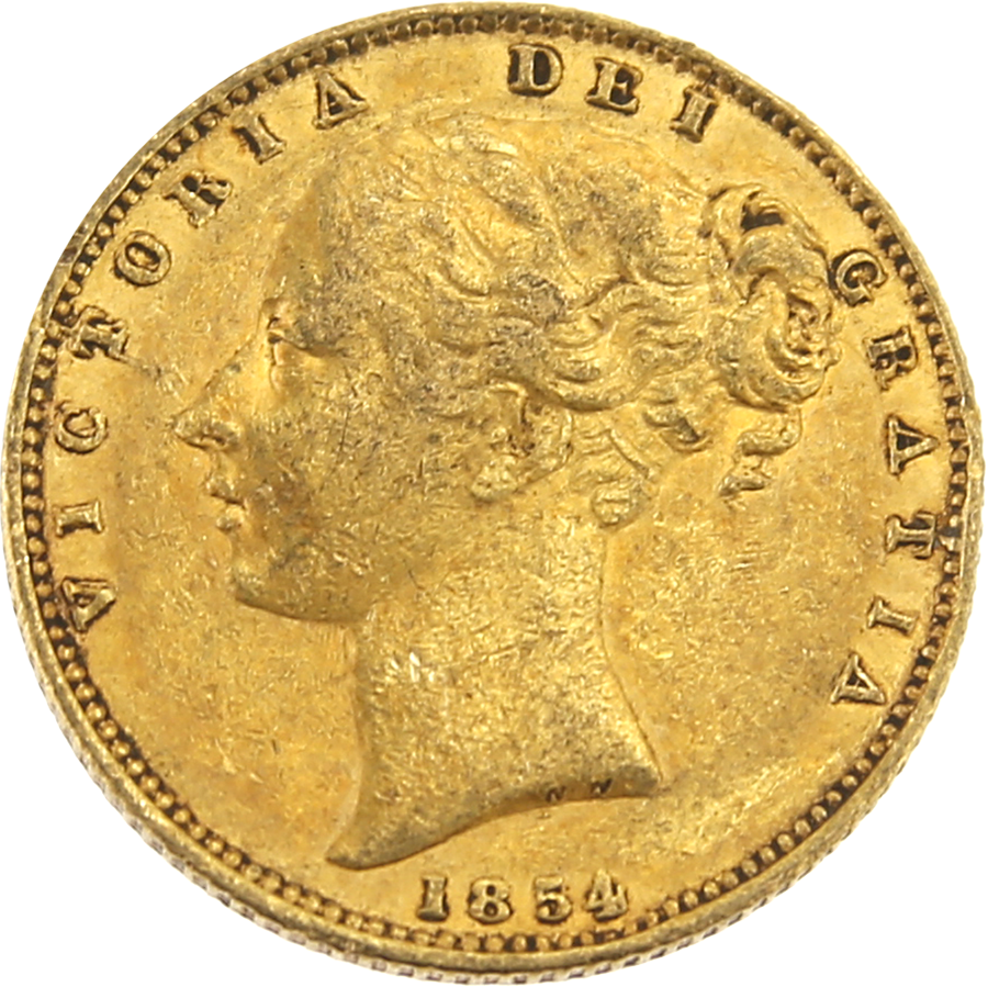 Pre-Owned 1854 London Mint Shield Victoria Full Sovereign Gold Coin