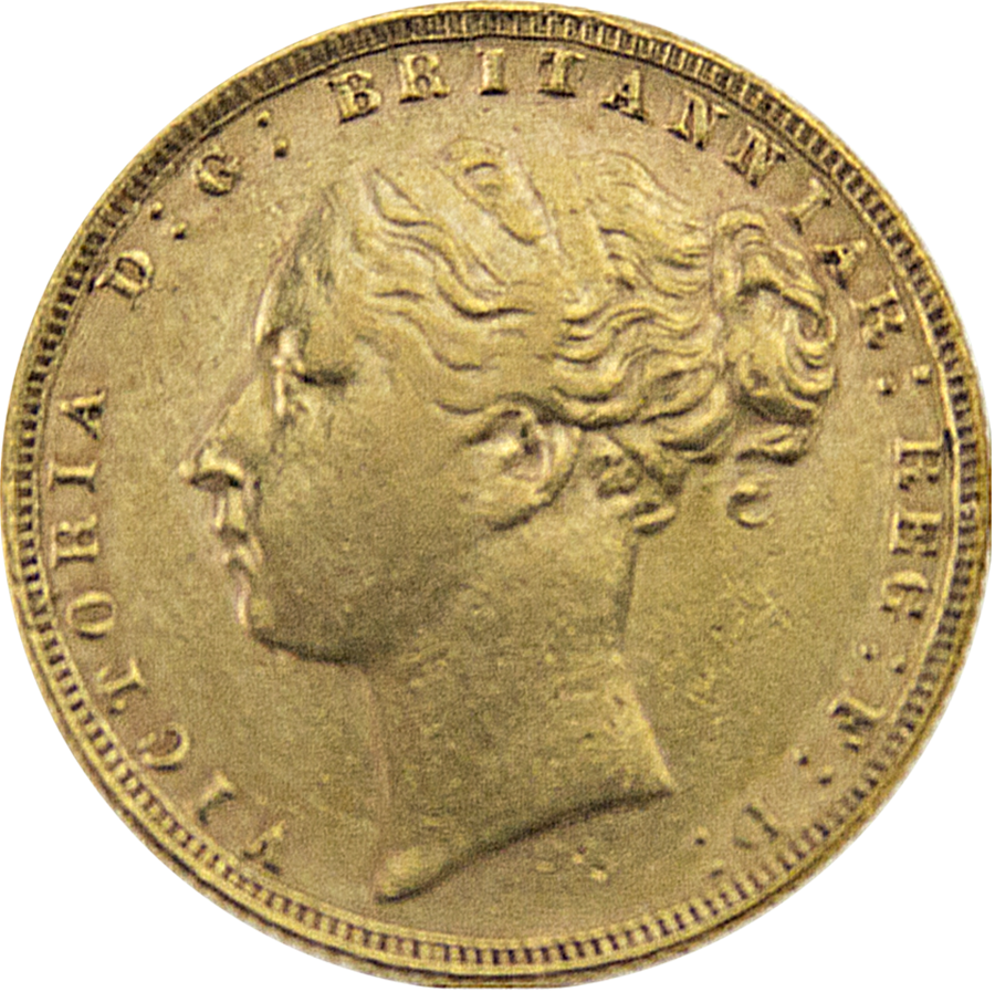 Pre-Owned 1876 London Mint Victoria Young Head Full Sovereign Gold Coin