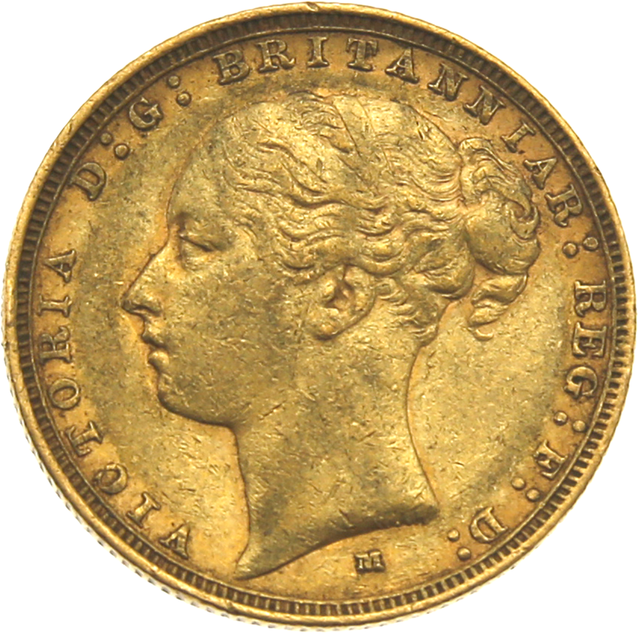 Pre-Owned 1883 Melbourne Mint Victoria Young Head Full Sovereign Gold Coin