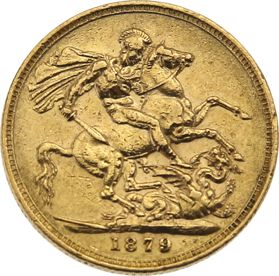 Pre-Owned 1879 Melbourne Mint Victoria Young Head Full Sovereign Gold Coin (Image 2)