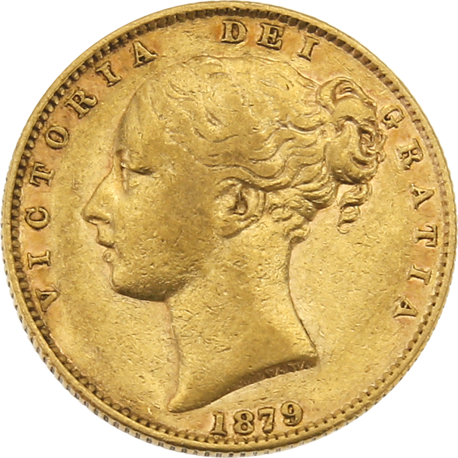 Pre-Owned 1879 Sydney Mint Victoria Young Head Shield Full Sovereign Gold Coin