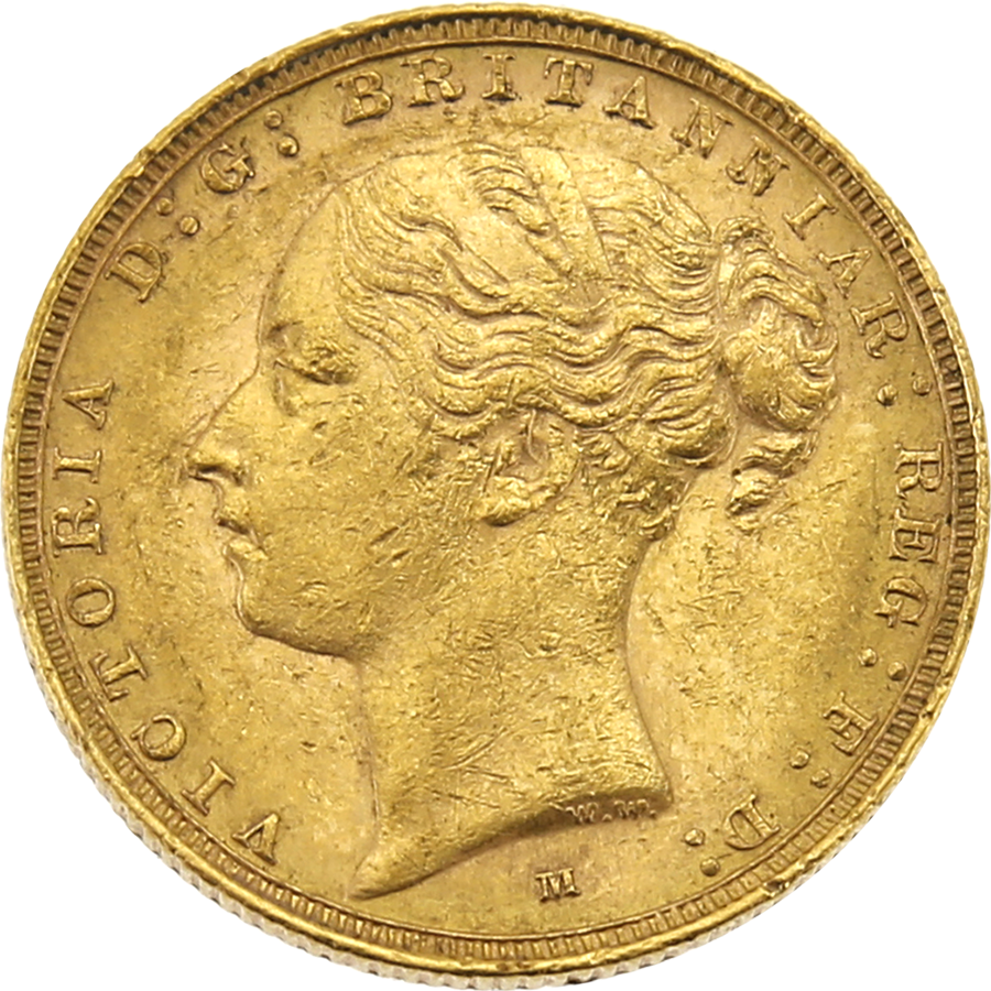 Pre-Owned 1885 Melbourne Mint Victoria Young Head Full Sovereign Gold Coin (Image 1)