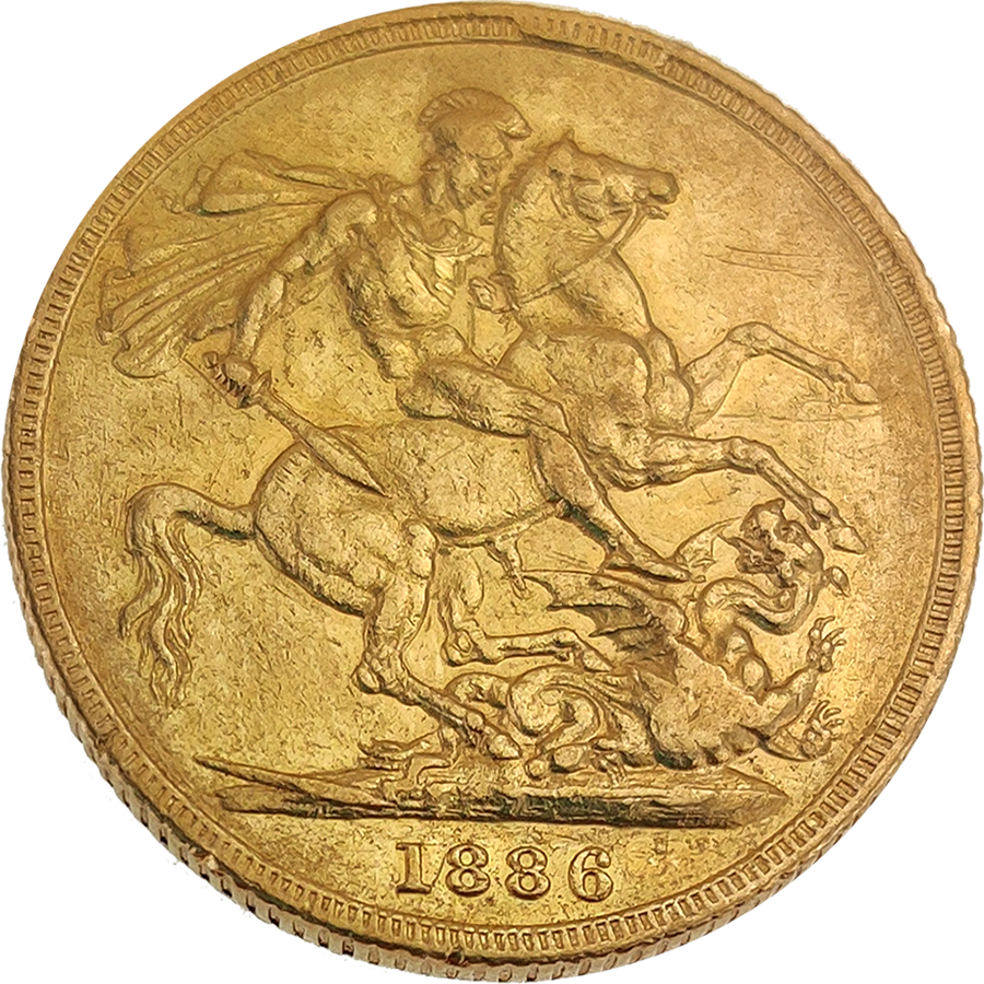 Pre-Owned 1886 Sydney Mint Victoria Young Head Full Sovereign Gold Coin (Image 2)