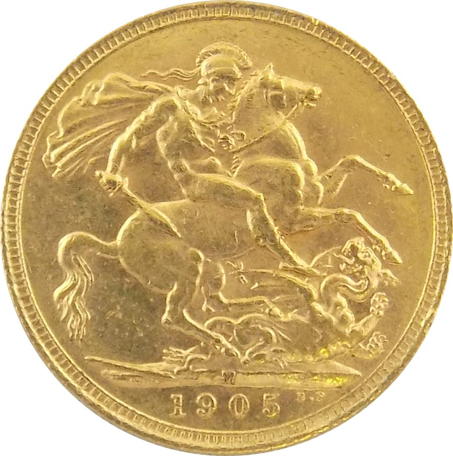 Pre-Owned 1905 Melbourne Mint Edward VII Full Sovereign Gold Coin (Image 2)