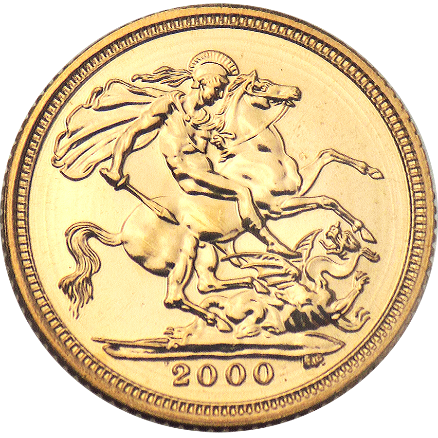 Pre-Owned 2000 UK 'Millennium' Elizabeth II Half Sovereign Gold Coin
