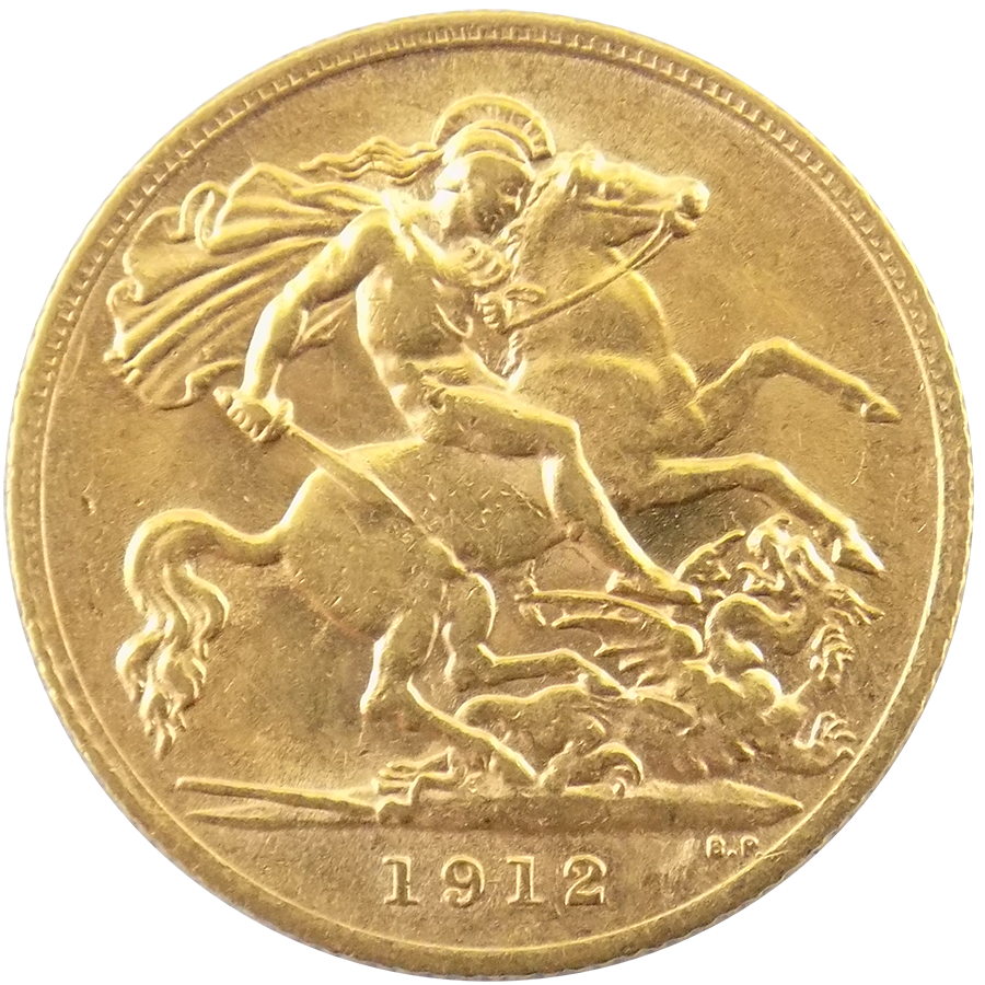 Pre Owned 1912 Uk Half Sovereign Gold Coin