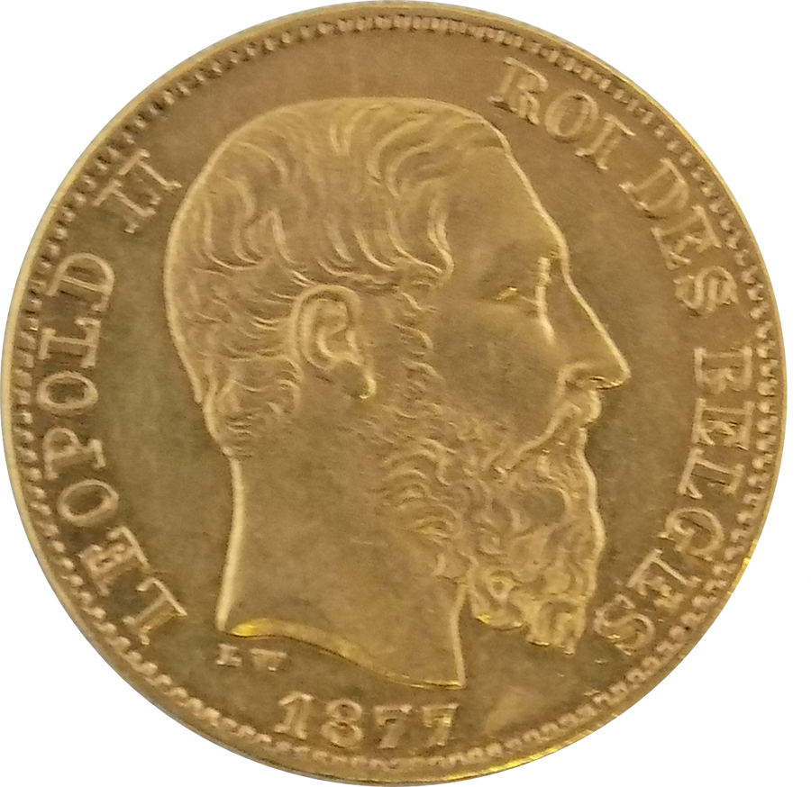 Pre-Owned Belgium Leopold II 20 Franc Gold Coin - Mixed Dates