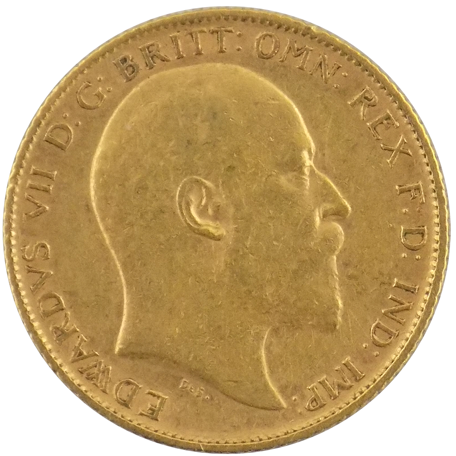 Pre-Owned 1907 UK Edward VII Half Sovereign Gold Coin