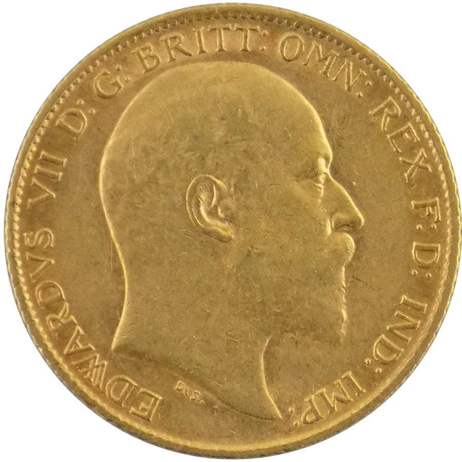 Pre-Owned 1906 UK Edward VII Half Sovereign Gold Coin
