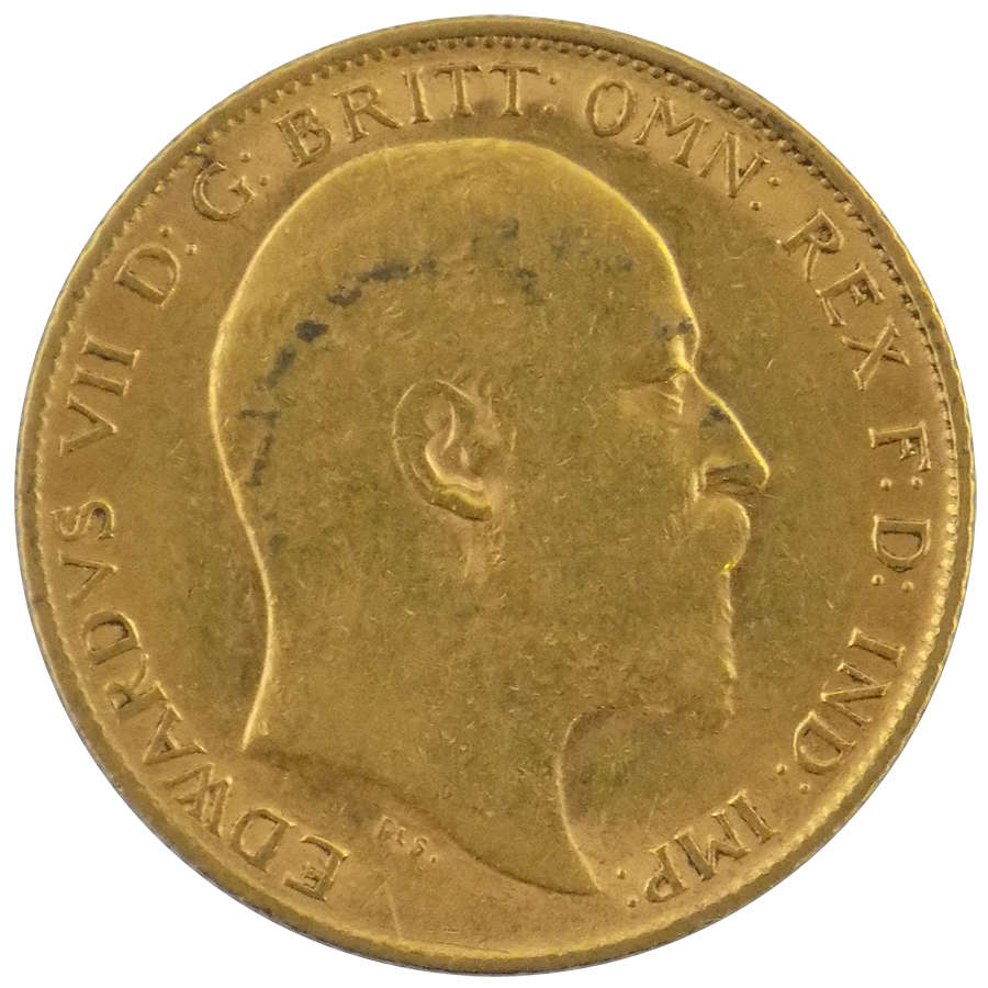 Pre-Owned 1908 UK Edward VII Half Sovereign Gold Coin