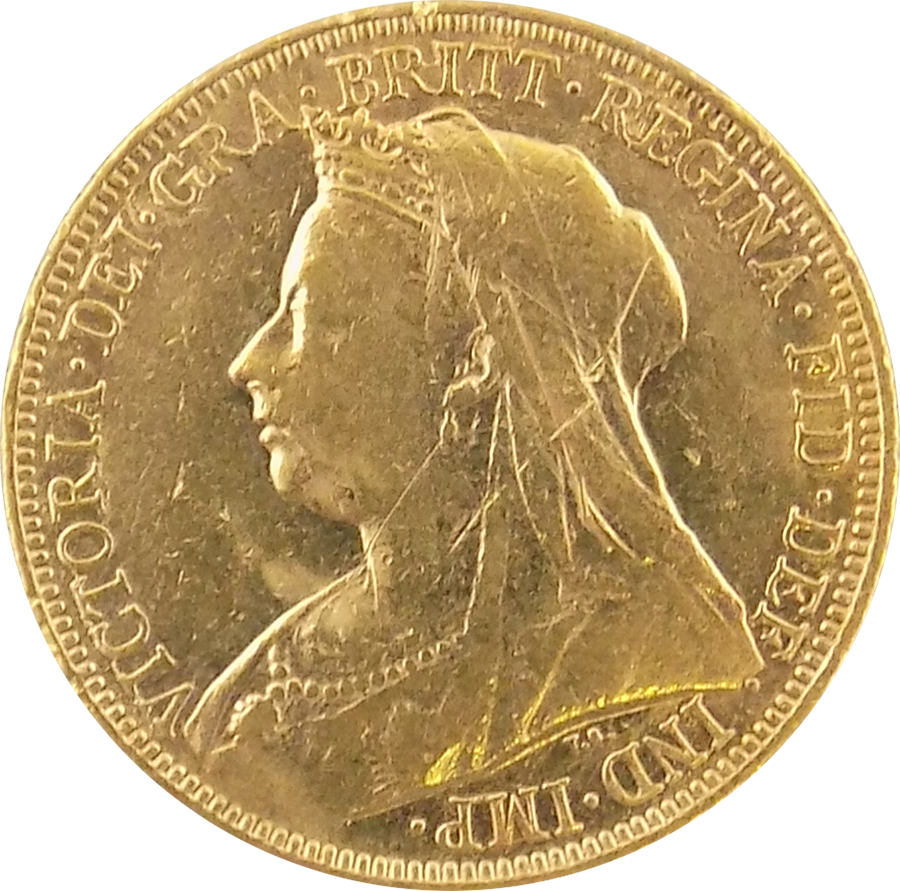 Pre-Owned 1901 Sydney Mint Victoria Veiled Head Full Sovereign Gold Coin