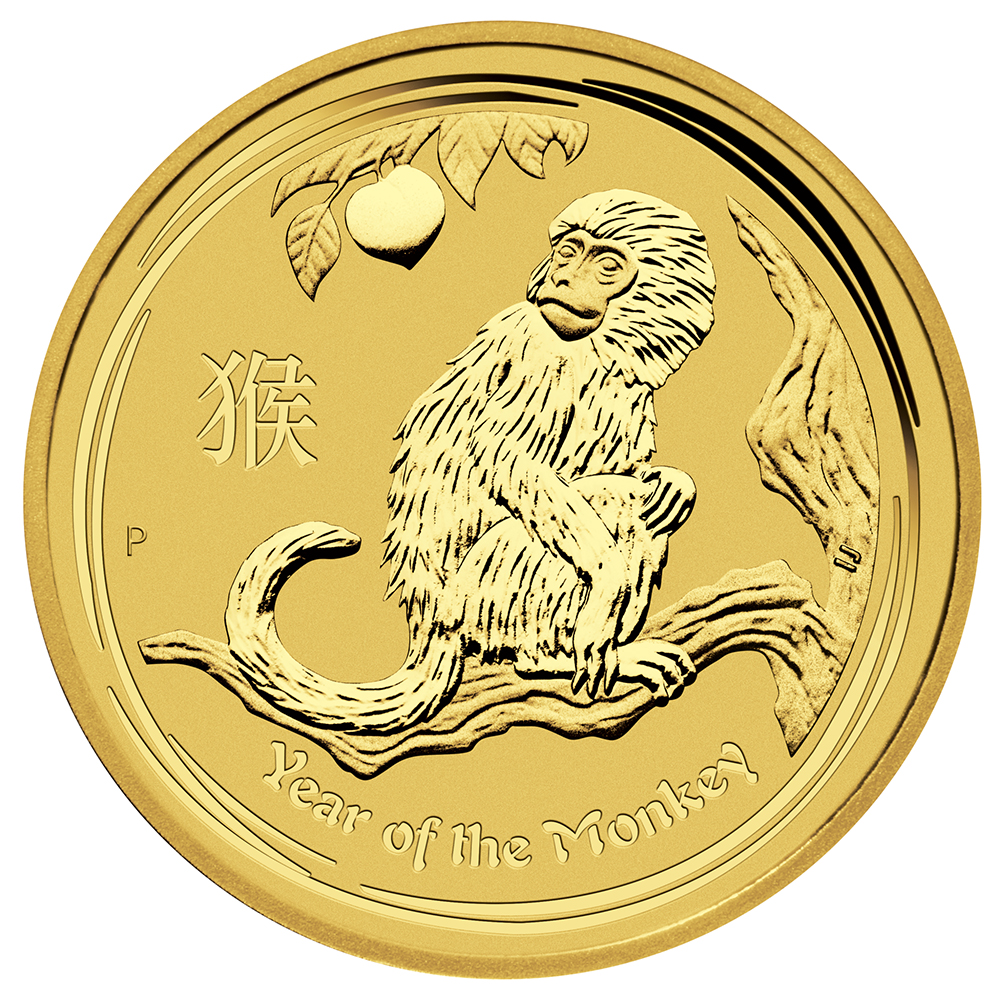 Pre-Owned 2016 Australian Lunar Monkey 1/2oz Gold Coin
