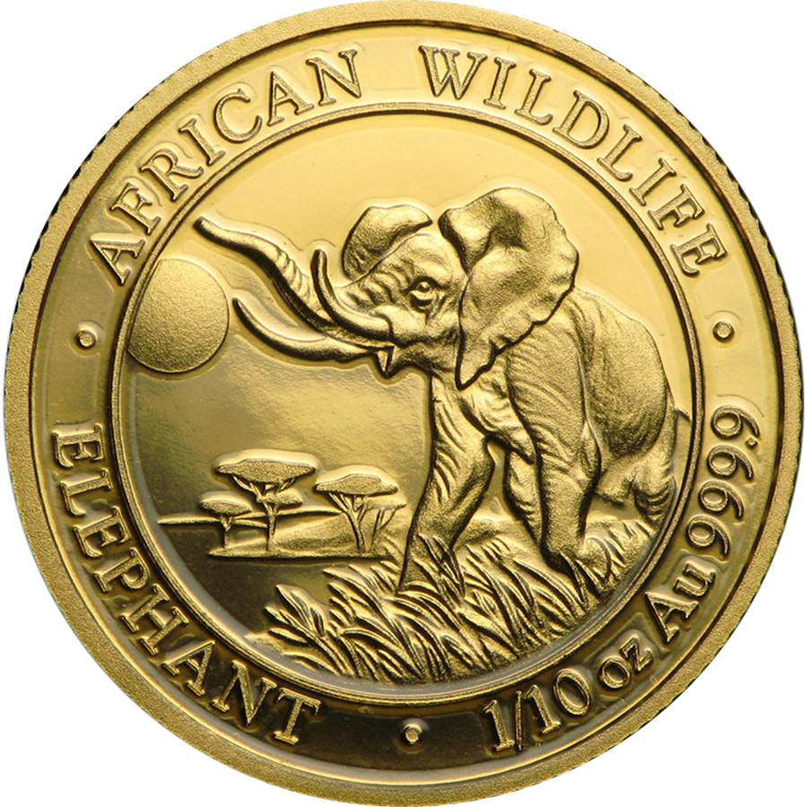 2016 Somalian Elephant 1/10oz Gold Coin