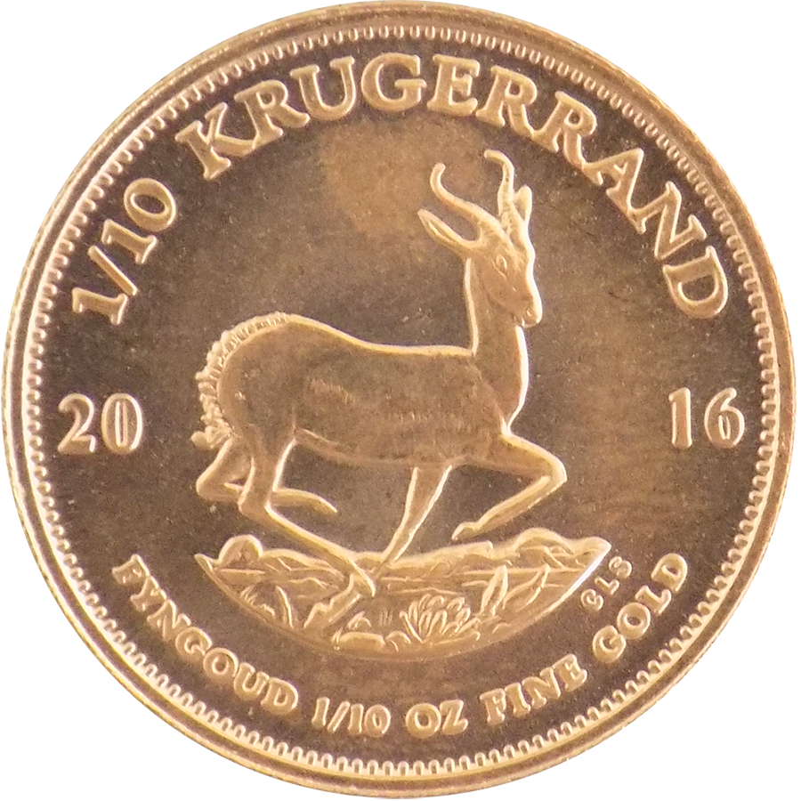 2016 South African Krugerrand 1/10oz Gold Coin