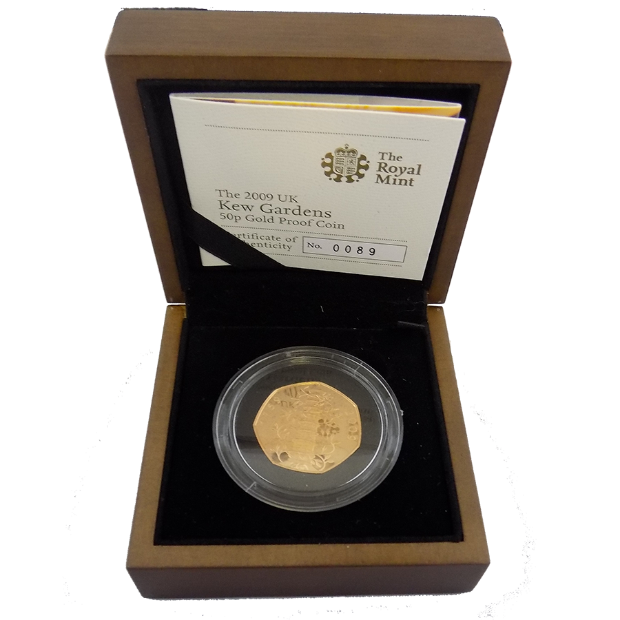 Pre-Owned 2009 UK Kew Gardens 50p Gold Proof Coin