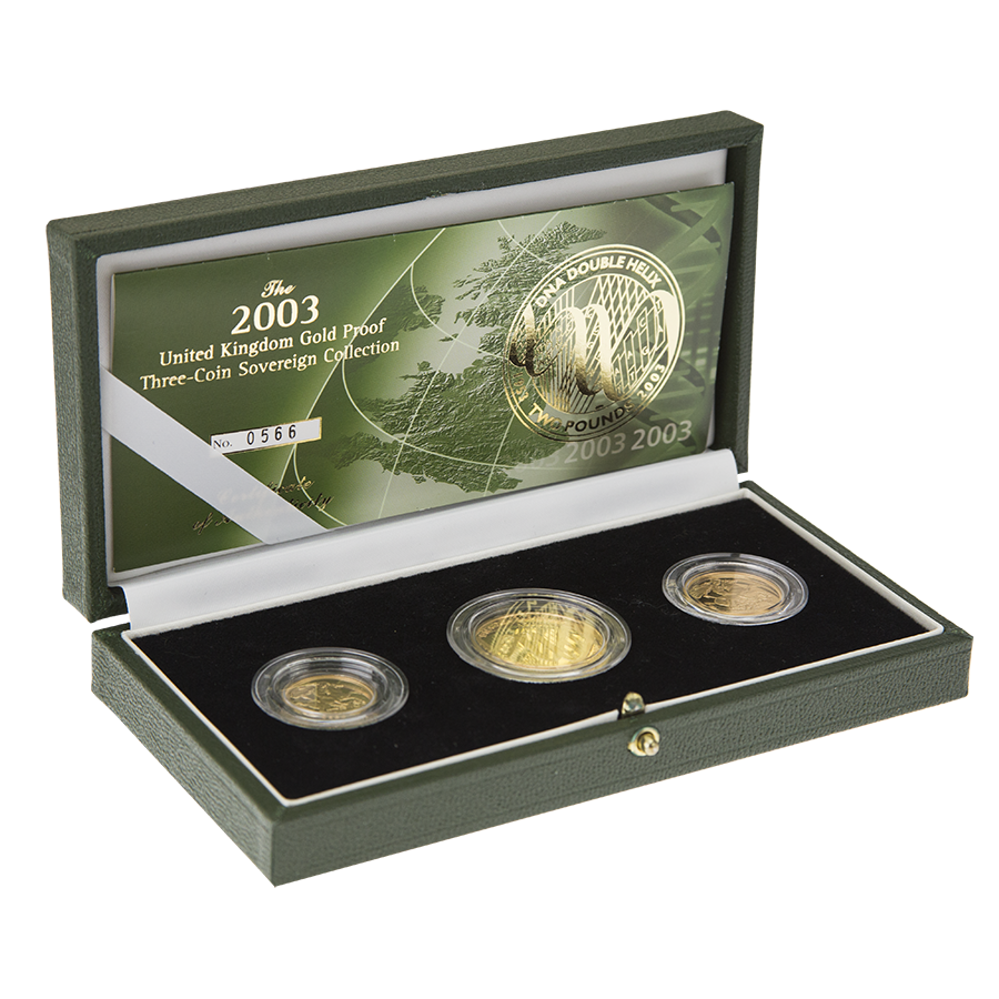 Pre-Owned 2003 UK Sovereign Gold Proof 3 Coin Collection